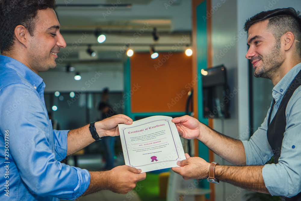 Fototapety, obrazy: business executive management having congratulation to executive staff who get award with certificate