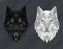 Set Of Abstract Polygonal Wolf Head