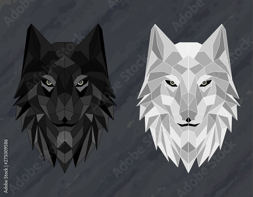 Canvas Print Set of Abstract polygonal wolf head