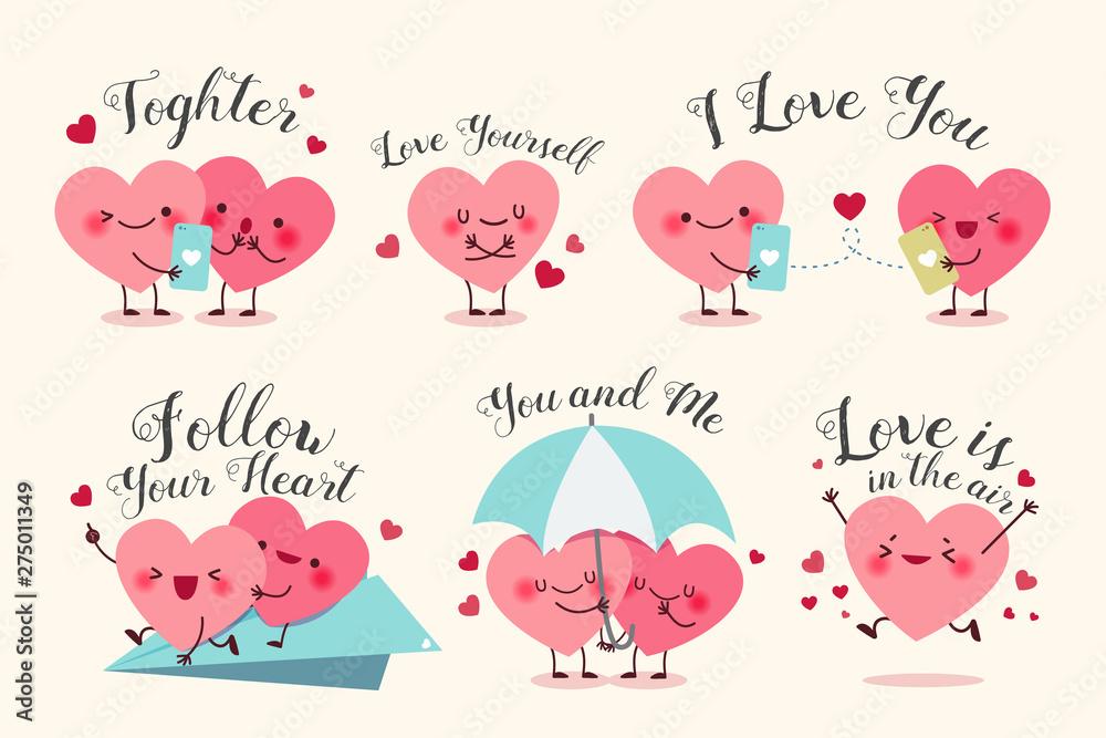 Fototapeta cute cartoon hearts