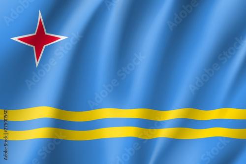 National flag of Aruba island in Caribbean sea Wallpaper Mural