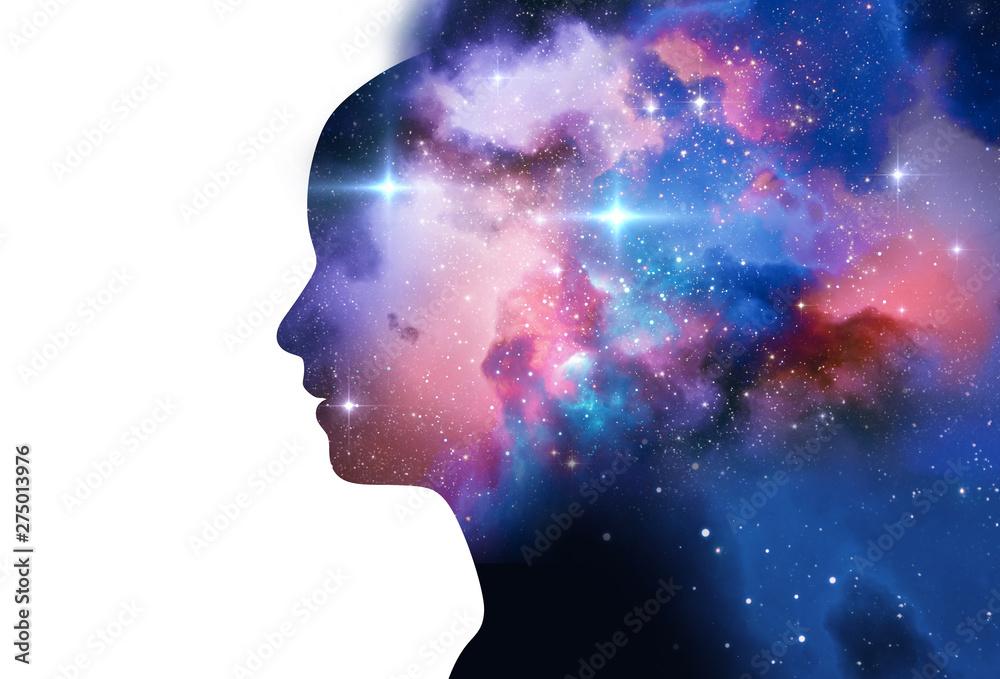 Fototapety, obrazy: silhouette of virtual human with aura chakras on space nebula 3d illustration