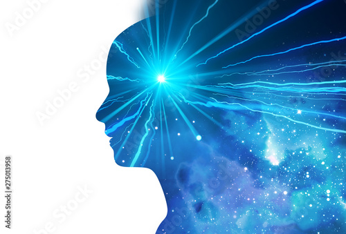 Obraz silhouette of virtual human with aura chakras on space nebula 3d illustration - fototapety do salonu
