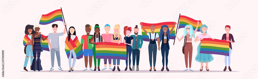 Fototapeta people group holding rainbow flag lgbt pride festival concept mix race gays lesbians crowd celebrating love parade standing together full length flat horizontal