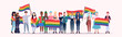 people group holding rainbow flag lgbt pride festival concept mix race gays lesbians crowd celebrating love parade standing together full length flat horizontal