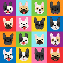 French Bulldog Faces Background Pop Art Style