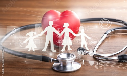 Fotografia  Medical Stethoscope with Heart isolated on  background