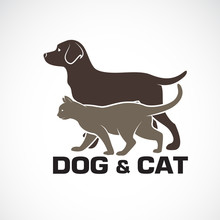 Vector Of A Dog And Cat Design On White Background. Animal. Pet Logo Or Icon.