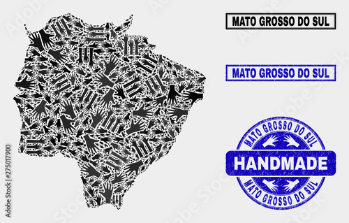 Fotografija  Vector handmade collage of Mato Grosso do Sul State map and textured stamp seals