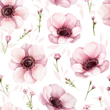 Seamless Floral Pattern Background For Wallpaper, Card Or Fabric. Water Color Style, Anemone Flower. Vector