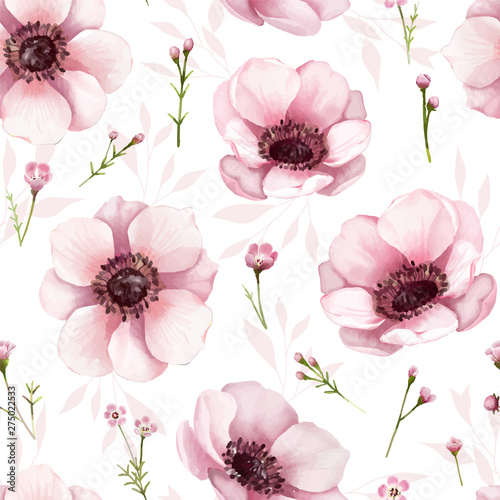 Cuadros en Lienzo Seamless floral pattern background for wallpaper, card or fabric