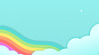 Abstract kawaii Colorful Sky rainbow background. Soft gradient pastel Comic graphic. Concept for wedding card design or presentation