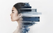 canvas print picture - Double exposure of young woman profile with metropolis
