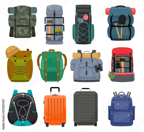 Photo Backpack camp vector backpacking travel bag with tourist equipment in hiking cam