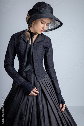22496825d Victorian woman in black outfit - Buy this stock photo and explore ...