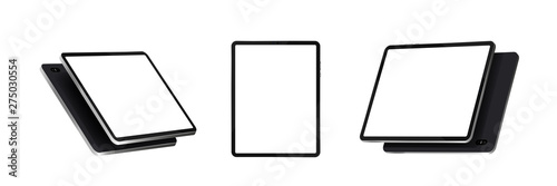Obraz Tablets at various angles. Realistic black tablet vector template isolated on white background in different point of view. Device with touch screen display. 3D gadgets, isometry, perspective. Vector - fototapety do salonu