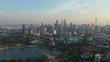 sunset kuala lumpur downtown park lake view aerial panorama 4k malaysia