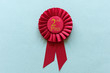 canvas print picture - Red 2nd Place Winners rosette on light blue