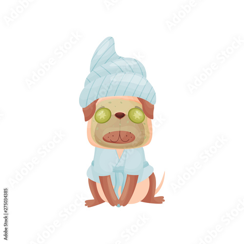 Cartoon Dog With A Mask Of Cream On The Face Vector Illustration