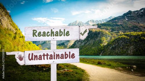 Street Sign to Reachable versus Unattainable Canvas-taulu