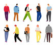 Cartoon casual people on white. Casual dressed human characters vector illustration, lifestyle design adult man and woman people different persons on street isolated