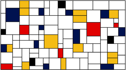 Fototapeta Popularne Neoplasticism (Piet Mondrian) imitation pattern. Vector background texture.