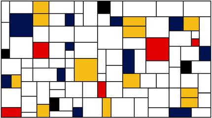 Naklejka Popularne Neoplasticism (Piet Mondrian) imitation pattern. Vector background texture.
