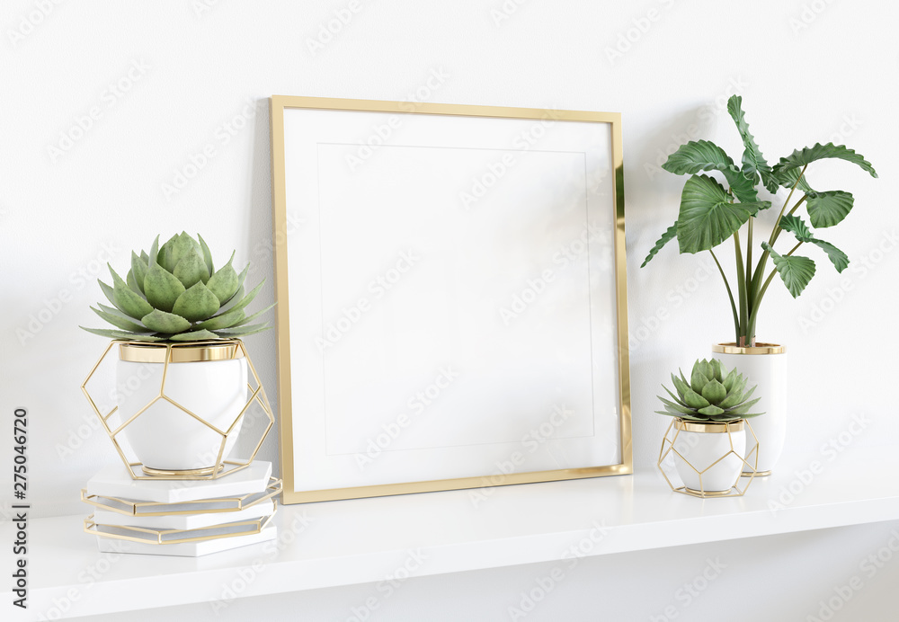 Fototapety, obrazy: Frame leaning on white shelve in bright interior with plants and decorations mockup 3D rendering