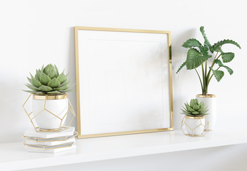 Obraz na SzkleFrame leaning on white shelve in bright interior with plants and decorations mockup 3D rendering
