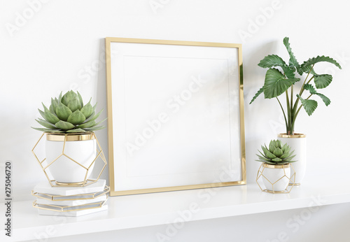 Frame leaning on white shelve in bright interior with plants and decorations mockup 3D rendering - 275046720