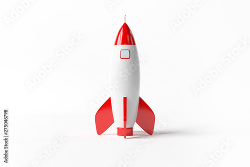 Obraz na plátně Old school style rocket isolated on white 3D rendering
