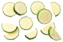 Fresh Green Zucchini Slices Isolated On White Background. Top View