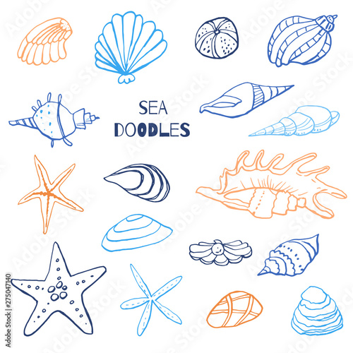 Fotografia Collection of sea marine ink doodles on white backdrop