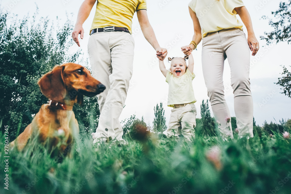 Fototapety, obrazy: Happy family enjoying picnic in the park. Parent helping making doughter first steps.
