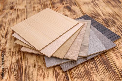 Obraz Wooden sampler close up on light background - fototapety do salonu