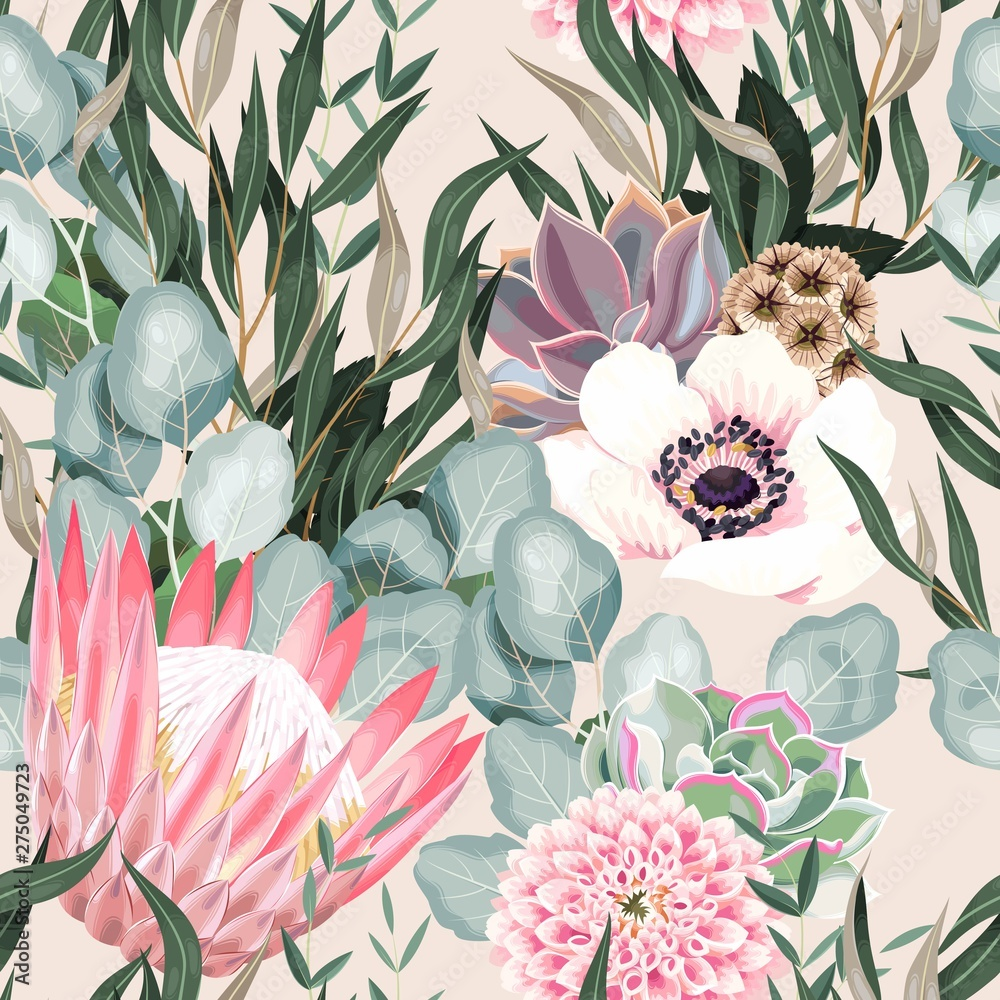 Fototapety, obrazy: Vector seamless pattern with protea and greenery