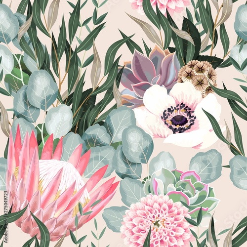 Vector seamless pattern with protea and greenery Canvas Print