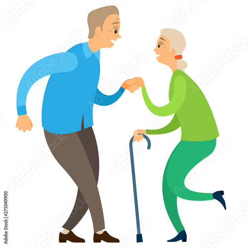 Fototapeta Old man and woman dancing, side view of smiling elderly couple holding hands and moving, retirement dancers characters in casual clothes, activity vector obraz