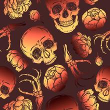 Halloween. Vector Illustration. Skull, Peony, Bones.Handmade, Prints On T-shirts, Background Brown, Tattoos,Red Yellow Color. Seamless Pattern