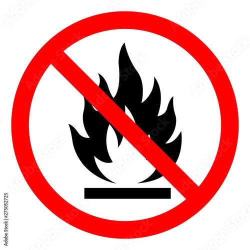 Fotografie, Obraz  No Flammable Symbol Sign, Vector Illustration, Isolate On White Background Label