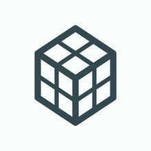 Rubik's Cube Isolated Icon, Puzzle Game Cube Linear Vector Icon, 3d Box Outline Icon