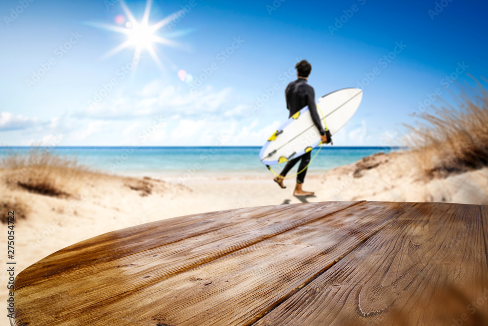 Fototapety, obrazy: Desk of free space and summer beach background