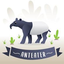 Cute Cartoon Anteater. Vector ...