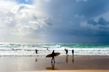 Surfers Surfboards Beach Group Portugal