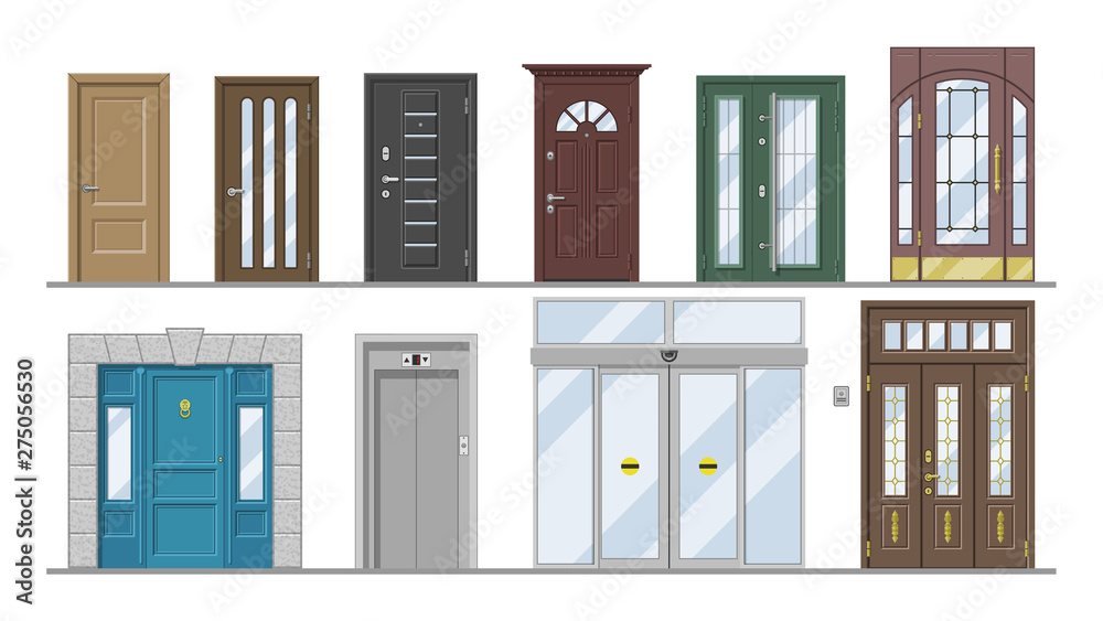 Fototapety, obrazy: Doors vector doorway front entrance lift entry or elevator indoor house interior illustration set exterior building doorpost doorsill and exit gate isolated on white background