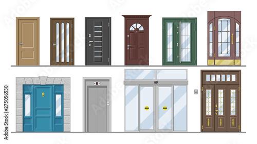 Fototapeta Doors vector doorway front entrance lift entry or elevator indoor house interior