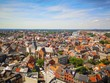canvas print picture - Hasselt city center skyline with blue sky during summer
