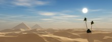 Pyramids In The Desert, Sandy Desert With Palm Trees And Pyramids In The Background Against A Blue Sky With Clouds, 3d Rendering