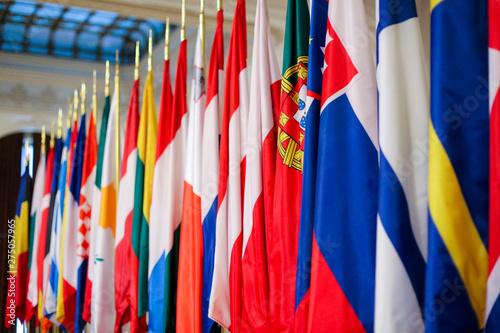 Fototapeta  European Union member states flags one next to another