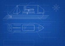 Blueprint Of Cargo Ship On Blu...